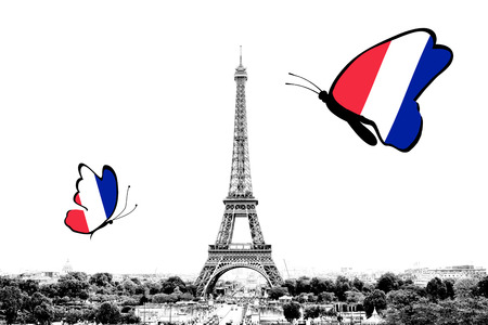 Black and white photo of Paris panorama with a view of the Eiffel Tower with butterflies around in the colors of the national flag of France. Isolated on white background.