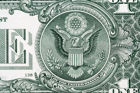 Eagle macro close-up on a US 1 dollar banknote. Detail of one dollar bill Stock fotó