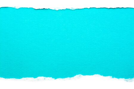White paper with torn edges isolated with a light blue color paper background inside. Good paper texture