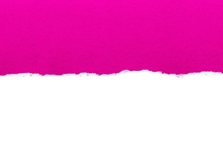 White paper with torn edges isolated with a bright pink color paper background inside. Good paper texture