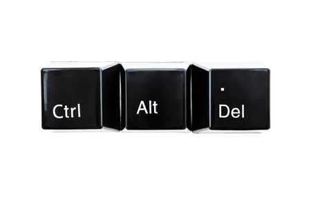 Ctrl, Alt, Del keyboard computer buttons closeup isolated on white background.