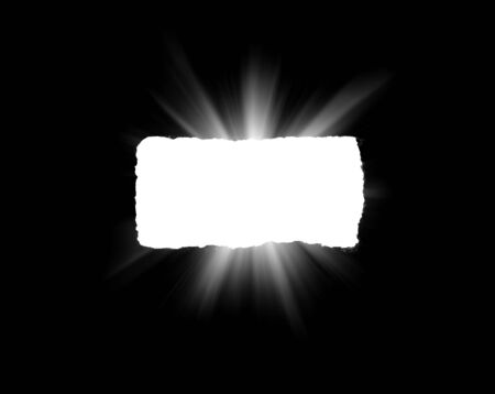 An isolated hole in black paper with torn edges and piercing sunlight and rays through it. Sunlight breaking through the darkness from a hole