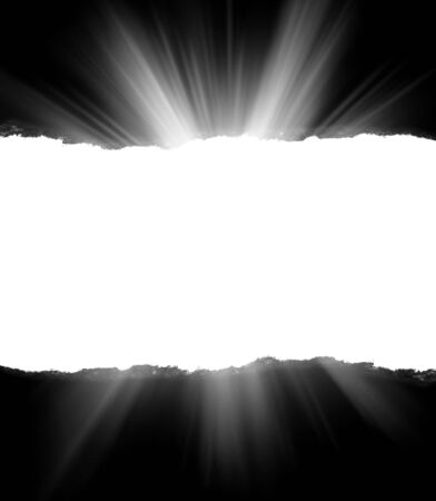 A hole in black paper with torn edges and piercing sunlight and rays through it. Sunlight breaking through the darkness from a hole