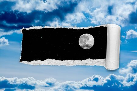 A hole in the day sky with torn edges, as if on paper, overlooking the night sky with a full moon and stars. The concept of global climate change on Earth, global warming, a hole in space and time.