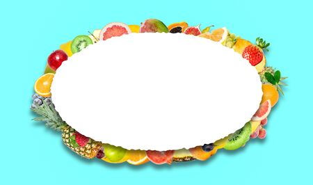 Creative photo of many different exotic tropical bright fruits with shadows on a blue background and an isolated white oval with beautiful jagged edges in the center for text. Bright summer fruit pattern.