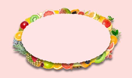 Creative photo of many different exotic tropical bright fruits with shadows on a pink color background and an paper oval with beautiful jagged edges in the center for text. Bright summer fruit pattern. Stockfoto