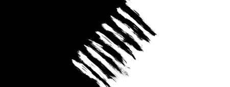 Grunge stains, brush strokes and lines of black and white paint in center isolated on black and white background. Stockfoto