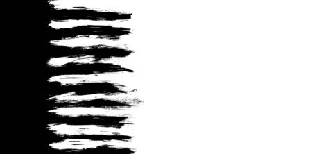 Grunge stains, brush strokes and lines of black and white paint isolated on black and white background with free space on the side for text. Stockfoto