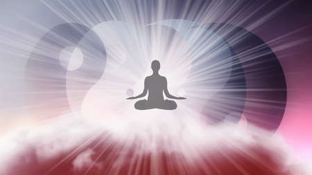 A silhouette of a man in a lotus position with arms spread apart, flying in the sky in a bright white sunlight on the background of the Yin-Yang symbol. Samadhi meditation concept, open mind.