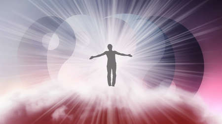 A silhouette of a man with arms spread apart, flying in the sky in a bright white sunlight on the background of the Yin-Yang symbol. Samadhi meditation concept, open mind.