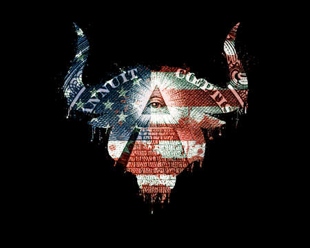 Isolated silhouette of bull head in american flag colors with paint splatter, blood flowing down and pyramid on dollar. American flag silhouette in a form of a bull head with blood splash, dollar bill 版權商用圖片