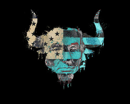 Isolated silhouette of a bull head with american flag with paint splatter, blood flowing down and a portrait of the president on a banknote.