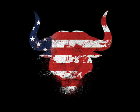 Silhouette of a bull's head in the colors of the American flag with splashes of paint, flowing blood isolated on a black. American flag silhouette in a form of a bull head with paint, blood splash.