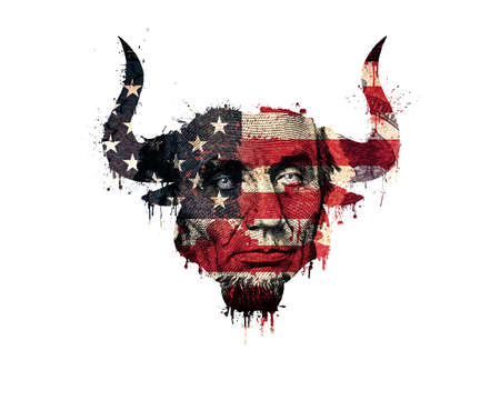 Isolated silhouette of a bull head in the colors of the american flag with paint splatter, blood flowing down and a portrait of the president on a banknote.