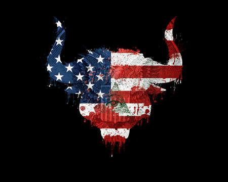 Isolated silhouette of bull head in american flag colors with paint splatter, blood flowing down and eagle on dollar. American flag silhouette in a form of a bull head with blood splash, dollar bill. 版權商用圖片