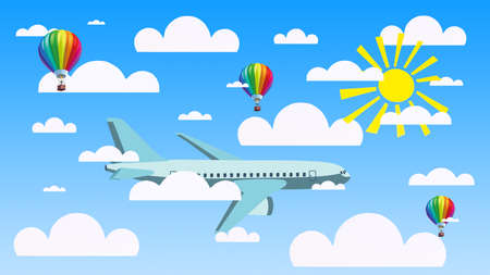 3d illustration of a bright blue sky with the sun and paper clouds, an airplane and air balloons. Travel, vacation concept. 版權商用圖片