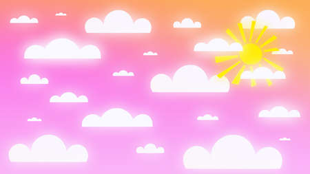 3d illustration of a bright sky at sunset with the sun and paper clouds. Bright summer sky background at sunset with sun and paper clouds.