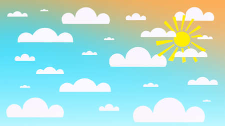3d illustration of a bright blue sky with the sun and paper clouds. Bright summer blue sky background with sun and paper clouds.