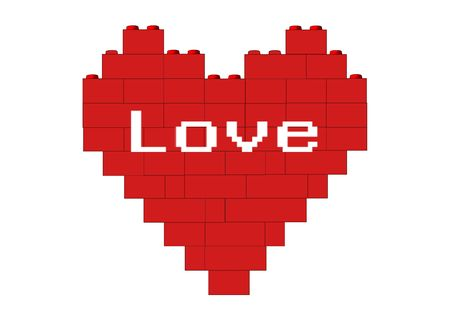 Red heart made of blocks, version with text, object isolated, blocks series, illustration, painting, drawing illustration