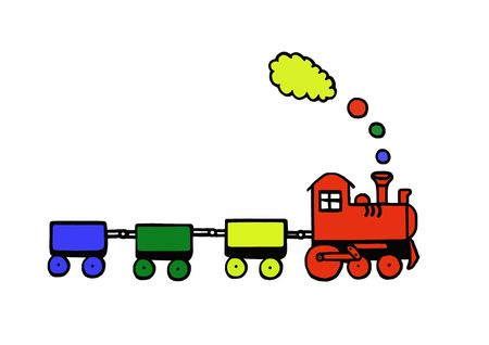 Funny train, toy series, illustration, painting, drawing illustration