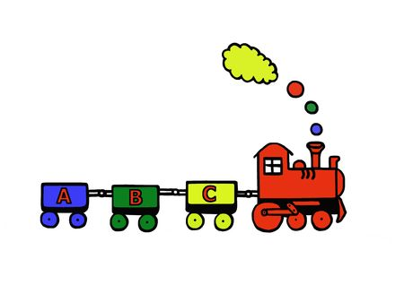 Funny educational train, toy series, illustration, painting, drawing illustration