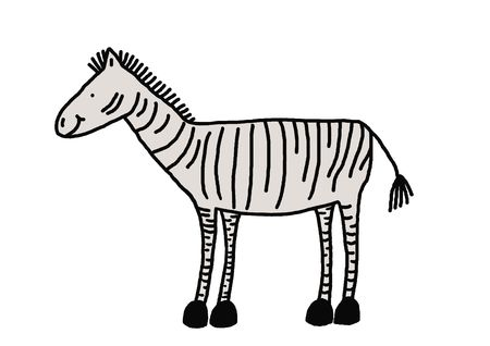 Funny zebra with a cute smile, illustration, animal series, painting, drawing illustration