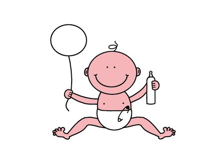 Little Cute Baby, New Year, Birthday, Newborn Baby, Pregnancy, Motherhood, Parenthood, object isolated, illustration, painting, drawing