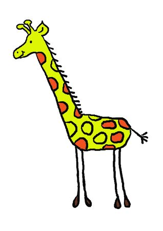 Funny giraffe with a cute smile, animal, series, illustration, painting, drawing