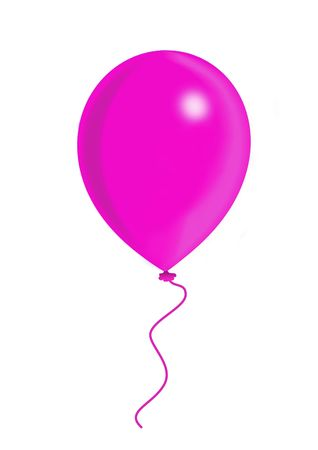 Pink balloon, balloon series, object isolated, illustration, painting, drawing illustration