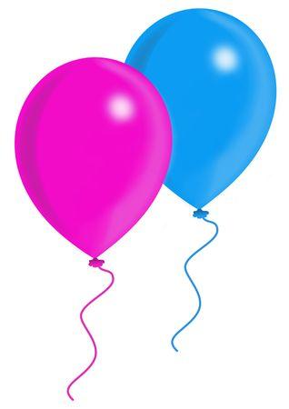 Azul y rosa globos, globos serie, de objetos aislados, ilustración, pintura, dibujo Foto de archivo - 695723