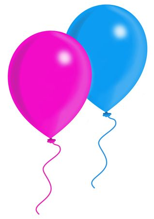 Blue and pink balloons, balloon series, object isolated, illustration, painting, drawing