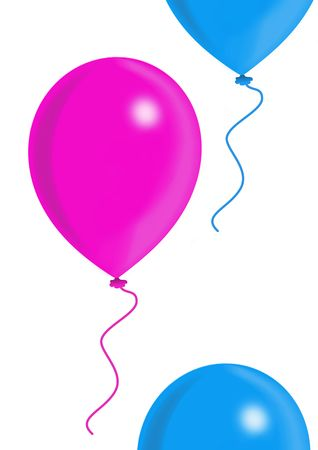 felicitation: Blue and pink balloons, balloon series, object isolated, illustration, painting, drawing