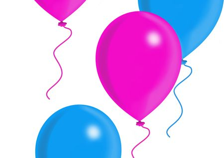 Blue and pink balloons, balloon series, object isolated, illustration, painting, drawing Stock Illustration - 695720