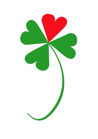 Valentine clover with one red and three green leaves, object isolated, clover series, illustration, painting, drawing Stock Illustration - 695712