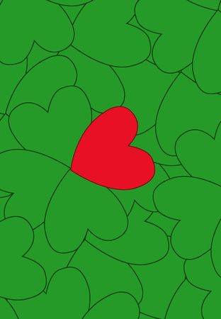 Valentine clover with one red and three green leaves, illustration, painting, drawing Stock Illustration - 695711