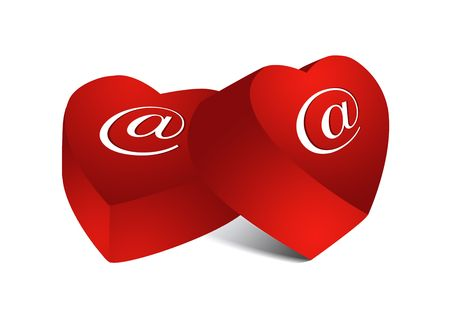 matrimonial: Two red e-mail chocolate hearts, objects isolated, illustration, painting, drawing Stock Photo