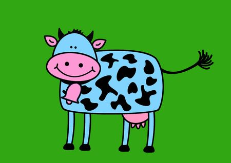 Funny cow, animal series, illustration painting, drawing