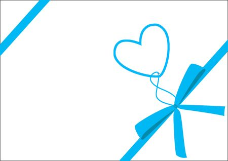 ribon: Cute gift with blue ribbon, version without text, object isolated, gift series, illustration, painting, drawing