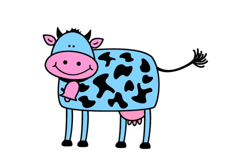 Funny cow, object isolated, animal series, illustration, painting, drawing illustration