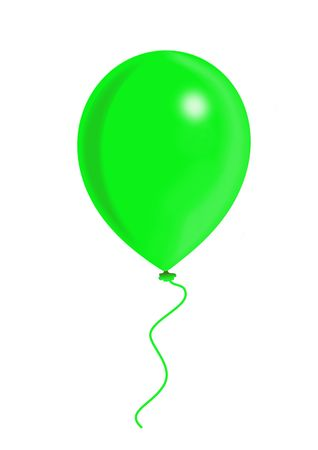 compliments: Green balloon, balloon series, object isolated, illustration, painting, drawing Stock Photo