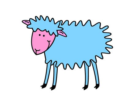Funny sheep, object isolated, animal series, illustration illustration