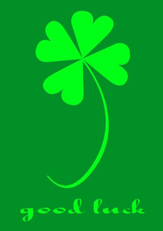 Four leaf clover, version with text, clover series, illustration Stock Illustration - 772116
