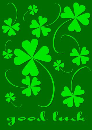 Four leaf clover, version with text, clover series, illustration Stock Illustration - 772115