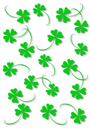 Green four leaf clover, object isolated, background, clover series, illustration Stock Illustration - 772114