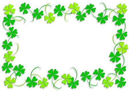 buena suerte: Green cuatro hojas del tr�bol, objeto aislado, marco, antecedentes, el tr�bol serie, ilustraci�n