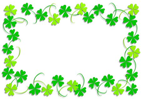 st  patricks: Green four leaf clover, object isolated, frame, background, clover series, illustration Stock Photo