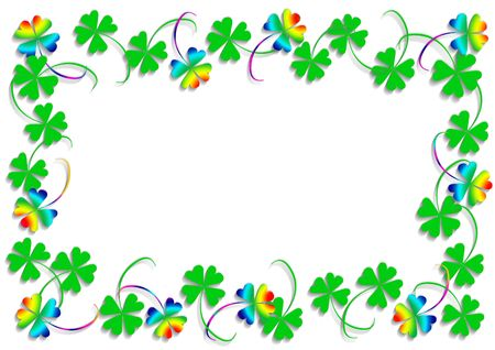blissful: Rainbow and green four leaf clover, object isolated, frame, background, clover series, illustration