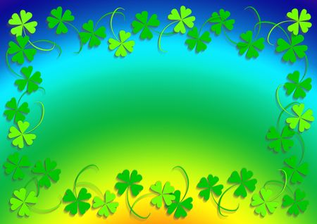 good luck: Green four leaf clover and the rainbow, frame, background, clover series, illustration