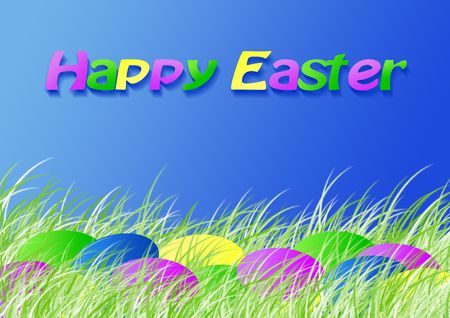 Easter dyed eggs in the spring grass, version with text, Easter series, illustration Stock Illustration - 802591