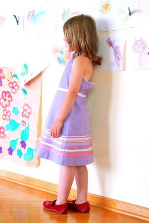 Little girl, kindergarten, shyness, character, community, concept